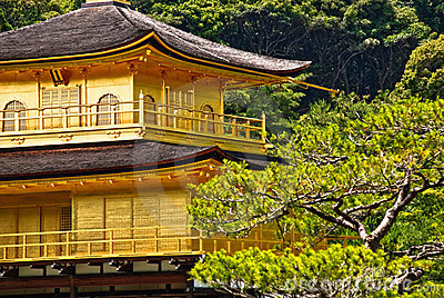 Close up of Kinkaku-ji temple in Kyoto, Japan.