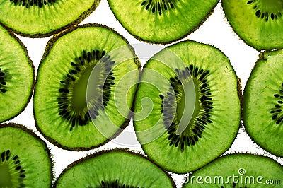 Close up of kiwi fruit slices