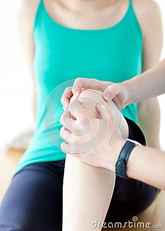 Close up of a knee massage