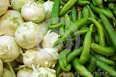 Close up of kohlrabi and  capsicum