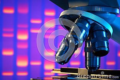 Close up of laboratory microscope