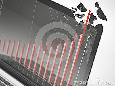Close up of laptop with graph