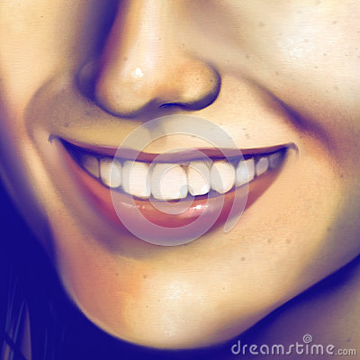 Close up of a laughing girls face - digital art