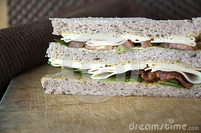 Close up layer of sandwich
