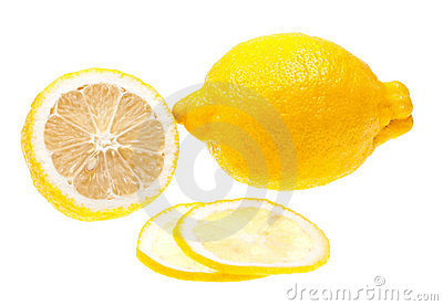 Close-up lemon slice isolated on white