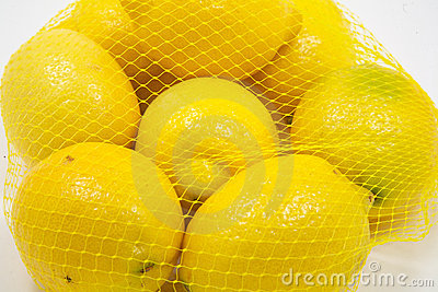 Close up of lemons in a bag