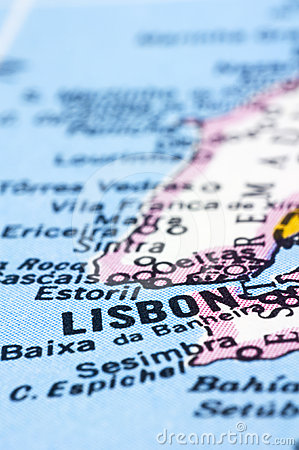 Close up of Lisbon on map, Portugal