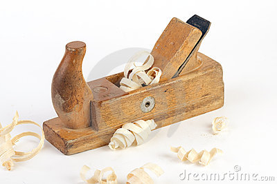 Close-up Macro of a joiners wooden planer