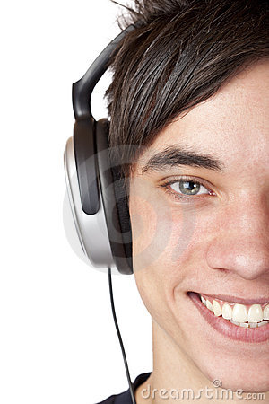 Close-up macro of male teenager with headphones