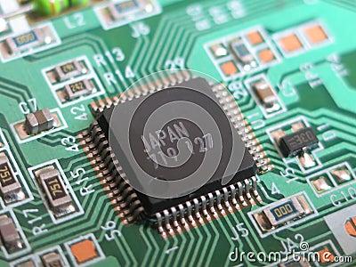Close up macro of small circuit board
