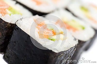 Close up of maki rolls