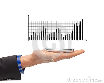Close up of man hand with smartphone and chart