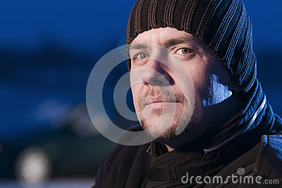 close up of man woolly hat