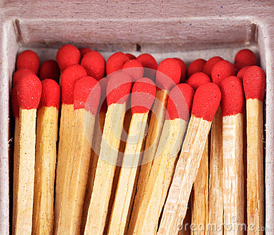 Close-up matches in matchbox
