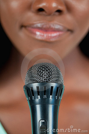 Close up of microphone being used by singer