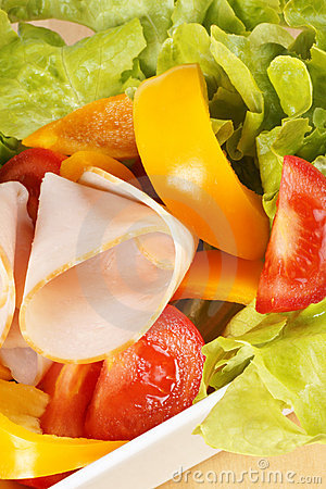 Close-up of a mixed salad with roast turkey