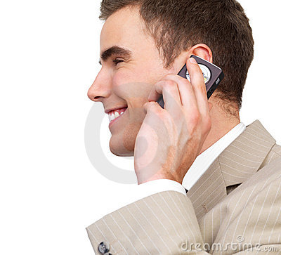 Close up of modern busy business man on phone