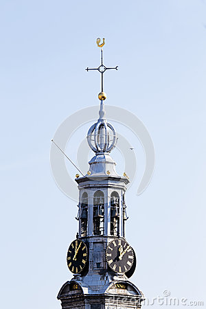 Close up from the Munt tower in Amsterdam Netherlands