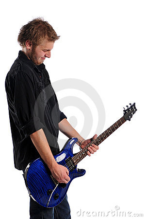 Close up of musician playing the guitar