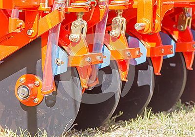 Close up new tractor plow Stock Photo