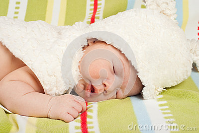 Close up of baby with fur bunny hat