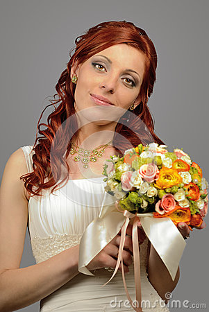 Close up of a nice young wedding bride