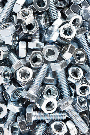 Close up of nuts and bolts