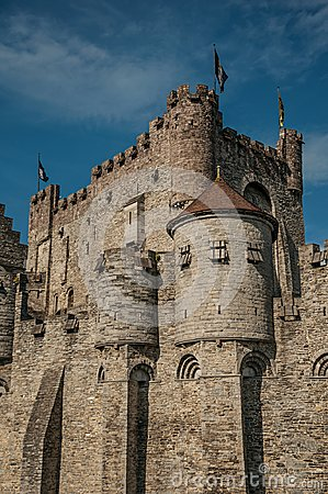 Free Close-up O Stone Wall And Watch-tower Of The Gravensteen Castle In Ghent. Royalty Free Stock Photography - 108327237