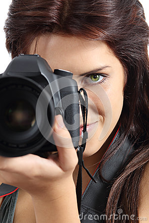 Free Close Up Of A Photographer Woman Holding A Digital Slr Camera Stock Photos - 34345813