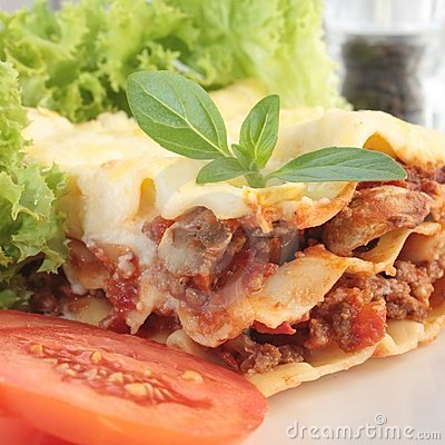 Free Close-up Of A Piece Of Lasagna Royalty Free Stock Image - 22085486