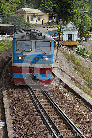 Free Close Up Of A Train Running On The Railway Over Hai Van Mountain Pass In The Central Vietnam Royalty Free Stock Image - 56014156