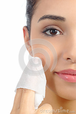 Free Close Up Of A Woman Face Removing Make Up With A Baby Wipe Stock Images - 36052814