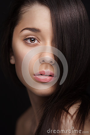 Free Close Up Of A Woman With Hair Over Half Her Face Stock Photography - 30247372