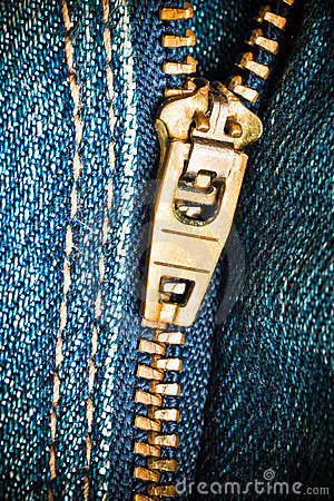 Free Close Up Of A Zipper Over Blue Denim Royalty Free Stock Photos - 23788118