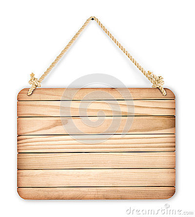 Free Close Up Of An Empty Wooden Sign Hanging On A Rope On White Back Stock Photography - 45416342