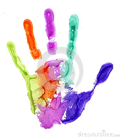 Free Close-up Of Colored Hand Print On White Background Stock Images - 101770014