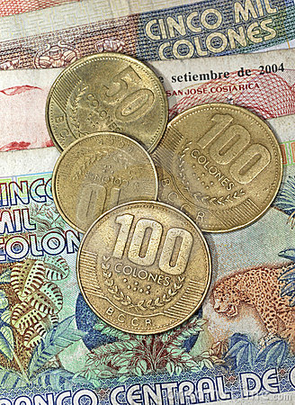 Free Close Up Of Costa Rican Money Colones Coins And Ba Stock Photos - 12233413