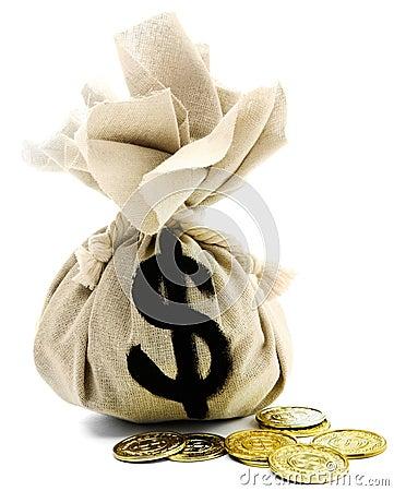 Free Close-Up Of Dollar Sign On Sack Stock Photos - 8795043