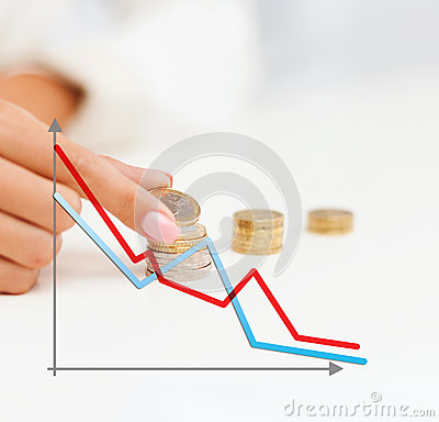 Free Close Up Of Female Hand With Euro Coins And Graph Stock Photography - 46814912