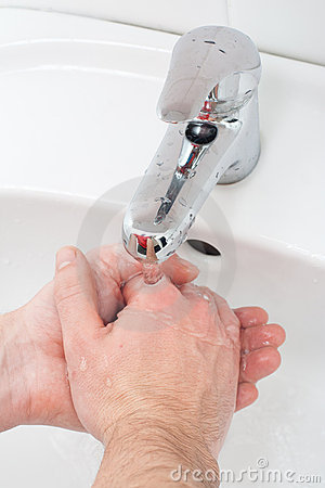 Free Close-up Of Human Hands Being Washed Royalty Free Stock Photography - 17433237