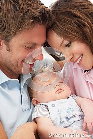 Free Close Up Of Parents Cuddling Newborn Baby Boy At H Royalty Free Stock Photos - 15586618