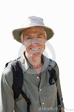 Free Close-up Of Senior Man With Rucksack, Wearing Sun Hat, Cut Out Royalty Free Stock Image - 41714076