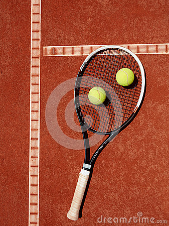 Free Close Up Of Tennis Racket And Yellow Balls At Red Clay Stock Photography - 76738222
