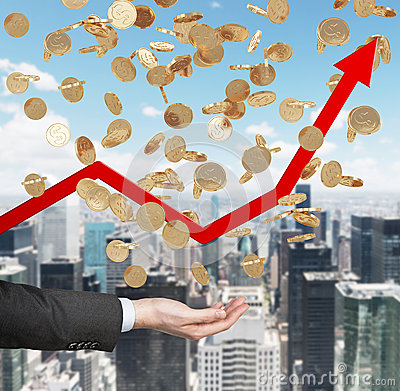 Free Close Up Of The Open Palm And Falling Golden Dollar Coins From The Sky. Red Arrow Is Going Up As A Symbol Of The Growth In Economy Royalty Free Stock Photo - 55065125