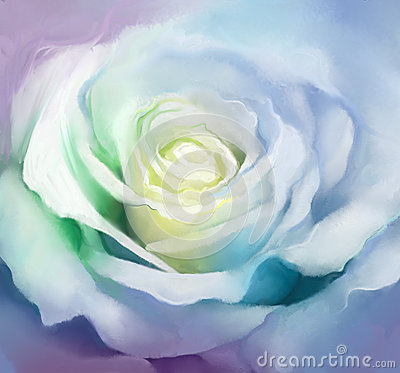 Free Close Up Of White Rose Petals. Oil Painting Flower Royalty Free Stock Photography - 52656977