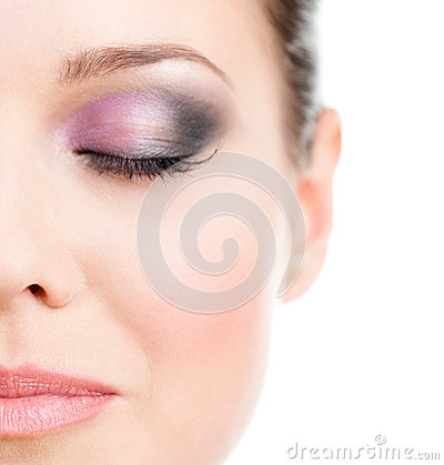 Free Close Up Of Woman S Half Face With Closed Eye Stock Image - 27001221