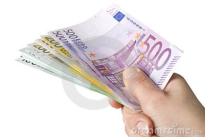 Close-up of100, 200 and 500 Euro banknotes.