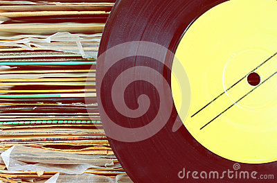 Close up of old record and records stack pic