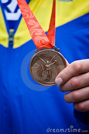 Close up of Olympic bronze medal Editorial Photography