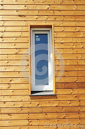 Free Close Up On Plastic PVC Window In New Modern Passive Wooden House Facade Wall. Stock Image - 67204411